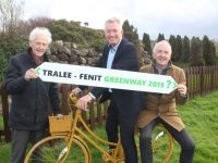 Joe Cotter of the 'Walk The Line' committee with Kieran Ruttledge of the Aqua Dome and Aidan Kelly, President of Tralee Chamber Alliance, hoping that progress will take place on the Tralee-Fenit Greenway soon. Photo by Dermot Crean