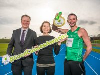 REPRO FREE 14/02/2019 Pictured at the University of Limerick for the launch of the National Lottery Good Causes Awards 2019 are Olympic hurdler Thomas Barr, Theresa Kavanagh of the Children's Grief Centre (which was awarded Overall Good Cause winner in 2018), and National Lottery CEO Dermot Griffin. Photo by Diarmuid Greene  Irish Olympian hurdler Thomas Barr today (Thursday 14th February) launched the National Lottery Good Causes Awards 2019 which honour the inspiring work and achievements of thousands of projects, clubs and individuals all over Ireland. The major awards initiative, now in its second year, is open to organisations making an incredible difference in their communities with the help of National Lottery Good Causes funding. The televised awards carry a prize fund of Û95,000. Entries are made on line. More information and full competition rules at www.lottery.ie/goodcausesawards.