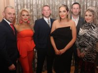 James Sugrue, Mags Sugrue, Jonathan Burrows, Leah Hamill, Adrian Quirke and Jeanette Quirke at the Lee Strand Social at Ballygarry House Hotel on Saturday night. Photo by Dermot Crean