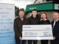 At the presentation of a cheque to Pieta House, the proceeds of a bikeathon at Nolan's Londis on North Circular Road were Niall Nolan, Daragh Murnane and Sinead O'Connor of Nolan's Londis and Con O'Connor of Pieta House. Photo by Dermot Crean