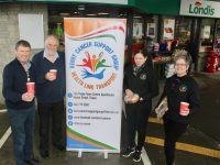 Niall Nolan of Nolan's Londis with Chris Robbins, Trish Kelly and Breda Dyland of Kerry Cancer Support Group looking forward to the coffee morning which takes place on Thursday, February 28. Photo by Dermot Crean
