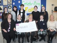 At the presentation of the cheque to Cuan Mhuire were, front from left; Principal of Presentation Secondary School Mary Kennelly, Shannon Browne, Sr Bríd of Cuan Mhuire, Ciara O'Mahony and Vice-Principal Chrissie Kelly. Back  from left; Erica Lucid, teachers Sheila O'Connell, Norma Foley and Yvonne Rice and Lisa Curran. Photo by Dermot Crean