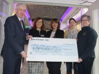 At the presentation of €6,000, the proceeds of an 80s disco at The Rose Hotel in late January were General Manager of The Rose Hotel Mark Sullivan; Sales and Marketing Manager Aisling Foley, Director of Sales and Marketing Michele King with Trish Kelly and Breda Dyland of Kerry Cancer Support Group. Photo by Dermot Crean