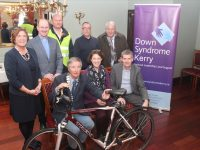 Launching the dual collection day were, in front; President of Tralee Rotary Club Pierse Wall; Rachel Fitzgerald and Risteárd Pierse of Down Syndrome Kerry. At back; Grace O'Donnell, Tralee Rotary; Fr Padraig Walsh, Michal Slattery, Ken Wainwright and Trevor Giles of Tralee Rotary. Photo by Dermot Crean