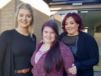 Natalie Mason (centre) with Angel Hussey and Nicole Sheffy of Kerry ETB Hairdressing courseafter after getting her hair dyed purple in aid of the Irish Cancer Society.