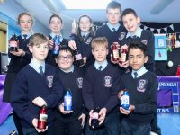 Sixth Class pupils from Ardfert NS with their reusable aluminium water bottles. Photo by Dermot Crean