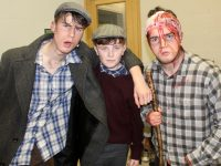 Joe Linehan, Danny Greaney and Oisin O'Connor before going on stage at the opening night of the CBS The Green students' production of 'The Playboy Of The Western World'. Photo by Dermot Crean