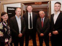 Carmel Marnane, Tom Randles, Niall Quinn, Ogie Moran and Mikey Quinn at the Business Leaders Gala Dinner at Ballygarry House Hotel on Thursday night. Photo by Dermot Crean
