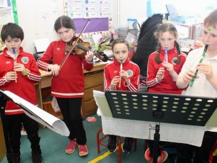 Pupils taking part in the Céilí Mór at Derryquay NS on Friday. Photo by Dermot Crean