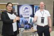 Rahma Chairi and Alan O'Shea of Alvention Ltd with his Rodfendr product at the IT Tralee Enterprise Showcase on Friday. Photo by Dermot Crean