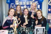 Presentation Tralee students, at back; Eva Valor, Julia Szarota, in front, Róisín Buckley, Aoibhe McKenna and Erica Lucid with their Peann2 product at the Kerry County Council Student Enterprise Awards at the IT Tralee on Friday. Photo by Dermot Crean