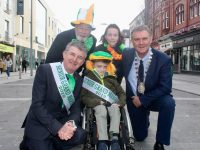 Anthony O'Gara and Ryan Baily Kelliher are the Grand Marshalls in this year's Tralee St Patrick's Day Parade. Also pictured is Mayor Of Tralee Cllr Graham Spring with, at back, Chairperson of the Parade, Johnnie Wall and Ryan's mom Janene Kelliher. Photo by Dermot Crean