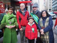 Mayor of Kerry Norma Foley with Sean Myers, Dromtacker, Pat Quirke and son Darragh from Derrymore and Moira Murrell, CEO, Kerry County Council prior to the start of the NYC Parade.
