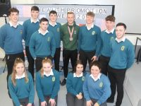 European Para Games medal winner Jordan Lee opening Health Promotion Week at Mercy Mounthawk on Tuesday with students. Photo by Dermot Crean