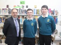 Deputy Principal of Mercy Mounthawk, Pat Fleming with Sean Hennessy and John Crohan who are into the Munster Schools Debating Final at UCC next week. Photo by Dermot Crean