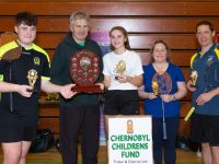 In conjunction with the Paddy Sugrue Doubles Tournament for the Chernobyl Childrens Charity fund which took place Tralee Sports Centre Sunday 03 March  This photograph shows the winners of Division 5 competition.... L/R,  Aidan Reidy,Ballyheigue & Eva Browne Moyvane being presented with their Trophys  by Tom Clear Chernobyl Childrens Fund committee  along with runners up Deirdre McAuliffe Listowel  & Dan Browne Moyvane.