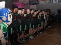 Lining up for the national anthem. Photo by Dermot Crean