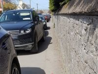 Cars parked up on the footpath in Ardfert village recently.