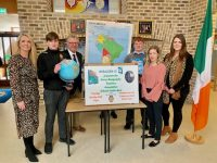Launching the inaugural Geography Quiz were, from  left; Karen Tobin, CBS The Green, CBS student Denis Moriarty, Jim McGann of Educate.ie, CBS student Sam McCarthy, Danielle Dunne of Educate.ie and CBS teacher Rebecca Tobin. Photo by Dermot Crean