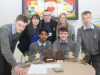 CBS students Denis Brosnan, Swithin Pais, Ryan Guerin and Robert Vasiu, winners of the Kerry IMTA Junior Cert Maths Quiz, with teachers Bridget Goodwin, John Mahony and Caroline Dillane. Photo by Dermot Crean