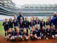 The group of Under 12 girls with coaches in Croke Park on Monday. Photo by John Walsh