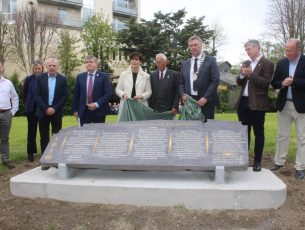 Paul O'Connor and Michael Scannell of Kerry County Council, Dr Tim Horgan, Cathaoirleach of Kerry County Council Norma Foley, Cllr Sam Locke, Mayor of Tralee Graham Spring, Cllr Pa Daly and Cllr Jim Finucane at the unveiling of the monument at Pearse Park on Sunday. Photo by Dermot Crean