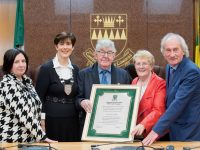 Pictured from left are Moira Murrell, CEO, Kerry County Council, Cllr. Norma Foley, Cathaoirleach, Kerry County Council, Nicky and Anne McAuliffe from Castleisland and Cllr. Mike Gleeson from Killarney at a civic reception held by Kerry County Council to honour Nicky and Anne's dedicated service to the teaching of traditional music of Sliabh Luachra to many hundreds of students. Pic: Pauline Dennigan