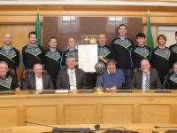 The Warriors with Tralee Municipal District Manager Michael Scannell, Mayor Graham Spring, Chairman of Warriors Cllr Terry O'Brien and Coach Pat Price. Photo by Dermot Crean