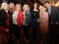 Sinead Crean, Fiona James, Denise Hanbidge, Jillian Maher, Liza Barrett, Leanne Brennan and Thomas McGrath at the Throwback 90s Disco in Benner's Hotel on Friday night. Photo by Dermot Crean