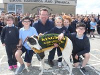Ardfert NS pupils join Declan Dowling of Kingdom Greyhound Stadium in launching the school's fundraising 'Night At The Dogs'. Photo by Dermot Crean