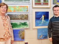 Gemma O'Brien and JP O'Brien at the exhibition of art from night classes students at Coláiste Gleann Lí on Tuesday evening. Photo by Dermot Crean