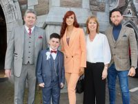 Willie Dennehy, Luke Dennehy, Lesley Denny, Mary Dennehy and Billy Dennehy at the Gaelscoil Mhic Easmainn First Holy Communion Day at St John's Church on Saturday.  Photo by Dermot Crean
