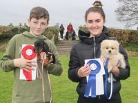 Dylan O'Connell with 'Pippa' who came first in the 'Puppy' category and Sinead McCourt and 'Archie' (2nd) at the dog show at Tralee Races in Ballybeggan on Saturday. Photo by Dermot Crean