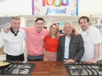 MC for the cookout, Elaine Kinsella, with chef Mike Foley, Tadhg Fleming, Derry Fleming and chef Will Fitzgerald. Photo by Dermot Crean