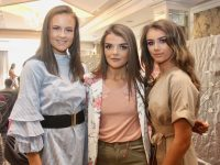 Aoife Ní Dhuilleáin, Leah Nic Ionrachtaigh and Abbie Ní Bhrosnacháin at the Gaelcholáiste Chiarraí TY Students fashion show at The Rose Hotel on Thursday evening. Photo by Dermot Crean