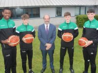 Principal of Mercy Mounthawk, John O'Roarke with their international basketballers Leeroy Idiahio, Tim and Sean Pollmann-Daamen and Daire Kennelly. Photo by Dermot Crean