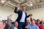 Mikey Sheehy is hoisted aloft on his election. Photo by Dermot Crean