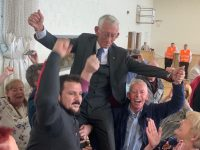 Cllr Sam Locke is hoisted aloft after winning the seventh and final seat in Tralee. Photo by Dermot Crean