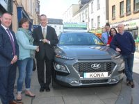 Pauline Campion (second left) accepts the keys of her new Hyundai Kona, from CEO of Cara Credit Union Pa Laide. Also included, from left; Marcus O'Shea of Adams Of Tralee, Liam Shannon of Adams, Suzanne Ennis of Cara Credit Union and John Moloney (Pauline's husband). Photo by Dermot Crean