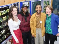 IT Tralee students Corina Van Deventer, Brian Naveen, Elton Asemota with Lisa Fingleton at the Horizons Exhibition at IT Tralee on Thursday night. Photo by Dermot Crean