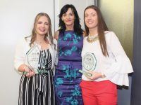 Principal of KCFE, Mary Lucey, with winner of Applied Science award Joanne Hannifin and Female Sports Star of the year Ciara Murphy at the Kerry College of Further Education Awards at the Clash Campus on Wednesday night. Photo by Dermot Crean