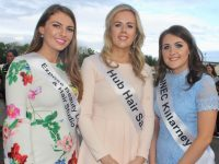 Kerry Rose 2019 contestants Naoimh Whelton, Elaine Kelliher and Karen Dineen at Kingdom Greyhound Stadium on Saturday night. Photo by Dermot Crean