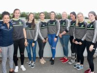 Kerry players Miriam O'Keeffe, Kayleigh Cronin, Ciara Murphy, Amanda Brosnan, Erica McGlynn, Robyn White, Aislinn Desmond, Sinead Warren and Sarah Murphy at the Kerry Ladies Football fundraising night at the dogs on Saturday night. Photo by Dermot Crean