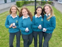 Katie Doyle, Deirdre O'Halloran, Ciara Moynihan and Sadhbh Griffin at the Mercy Mounthawk annual Student Awards on Wednesday night. Photo by Dermot Crean