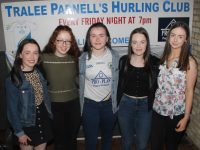 Rachael O'Sullivan, Ruth O'Connell, Chloe Griffin, Saoirse Moloney and Lia O'Connell at the Tralee Parnells party night in The Ashe Hotel. Photo by Dermot Crean