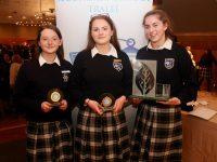 Clodagh Begley (Nano Nagle Award), Kate Lynch (Lee Strand Award) and Cara Segal (Ceist Award) at the Presentation Secondary School annual awards at Ballyroe Heights Hotel on Thursday evening. Photo by Dermot Crean