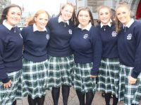 Casey O'Donnell, Clara Moran, Orla O'Sullivan, Ciara Lynch, Laura Devane and Ciara Darcy at the Presentation Secondary School Graduation on Friday. Photo by Dermot Crean