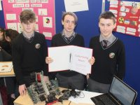 Gaelcholáiste Chiarraí students Seamus Ó Luasaigh, Jared Ó Briain and Tomás Ó Duibhne at the Scifest Exhibition at IT Tralee on Wednesday. Photo by Dermot Crean