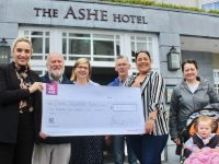 Group Sales and Marketing Manager, Leonie Flaherty, (left) and Jane Boyle Of The Ashe Hotel (third from left) present a cheque to Enda O'Brien, Gerard O'Carroll, Christobel Quirke, Sandra Burke and Evelyn Burke of Down Syndrome Kerry at the hotel on Wednesday. Photo by Dermot Crean
