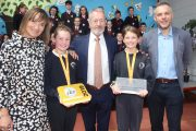 Principal of Caherleaheen NS Mary Connolly with Sean Kelly MEP, Sean Ryan of Aspen Grove and pupils at the school on Monday. Photo by Dermot Crean